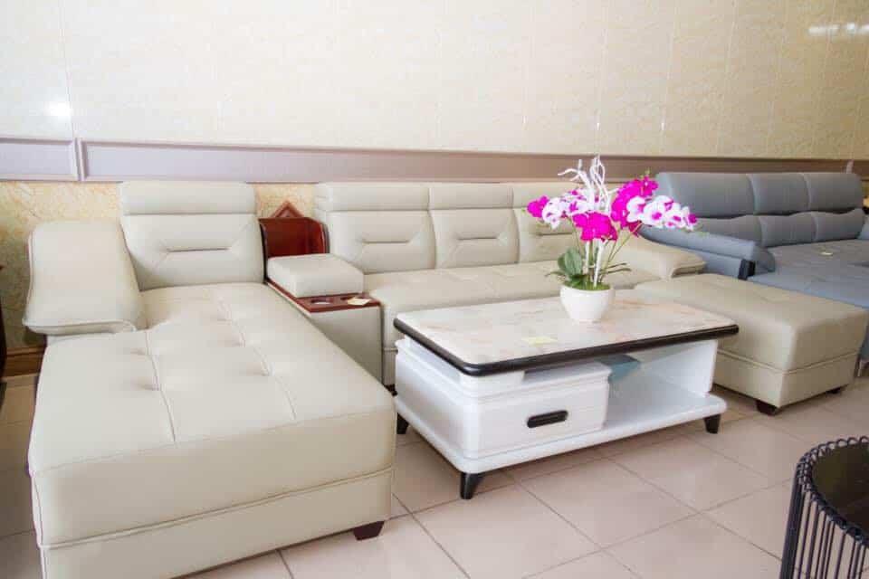 Ghế Sofa Góc Da Màu Kem   Bàn Giao Cho Chị Nguyệt Ở Gia Lâm Hà Nội