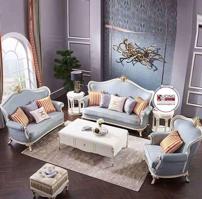 Sofa da cổ điển màu xanh dương, hồng nhạt sẽ mang đến sự ấn tượng