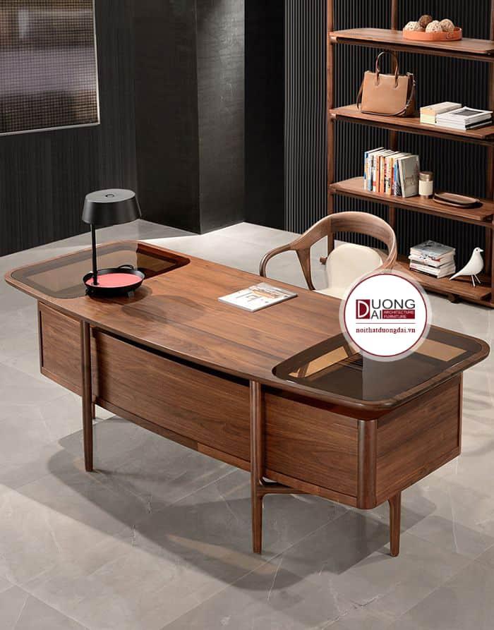 Mẫu bàn cách điệu với mặt kính và hộc bàn lớn