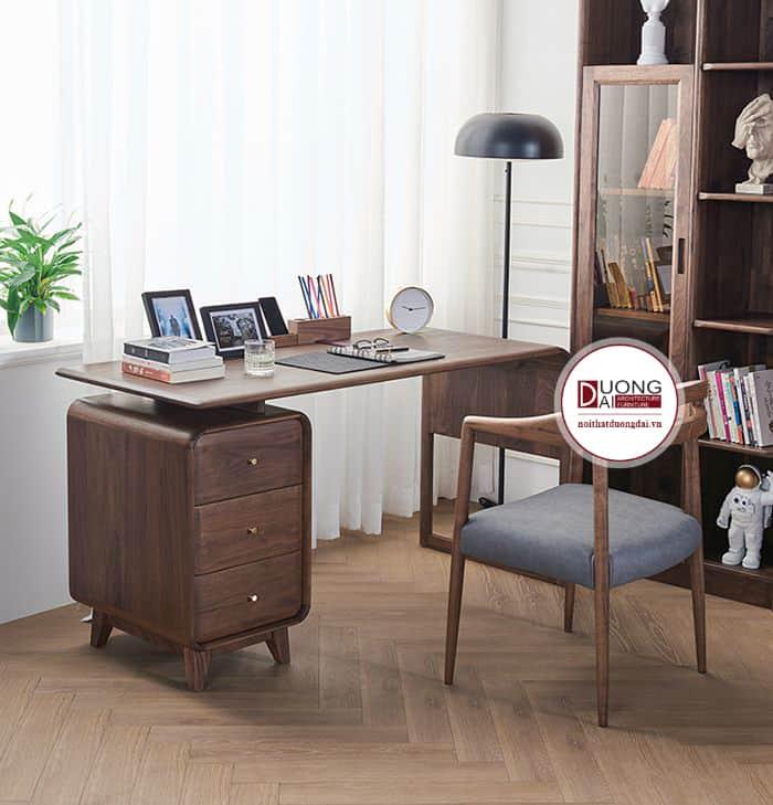 Mẫu bàn làm việc cá tính được xưởng sản xuất nội thất gỗ óc chó hoàn thiện