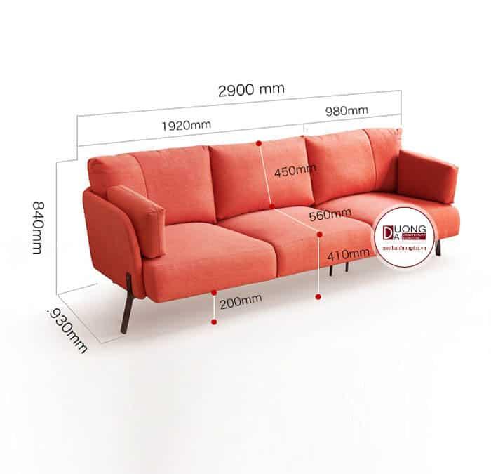 Ghế Sofa Dài Chất Liệu Nỉ Màu Cam Trẻ Trung Hiện Đại