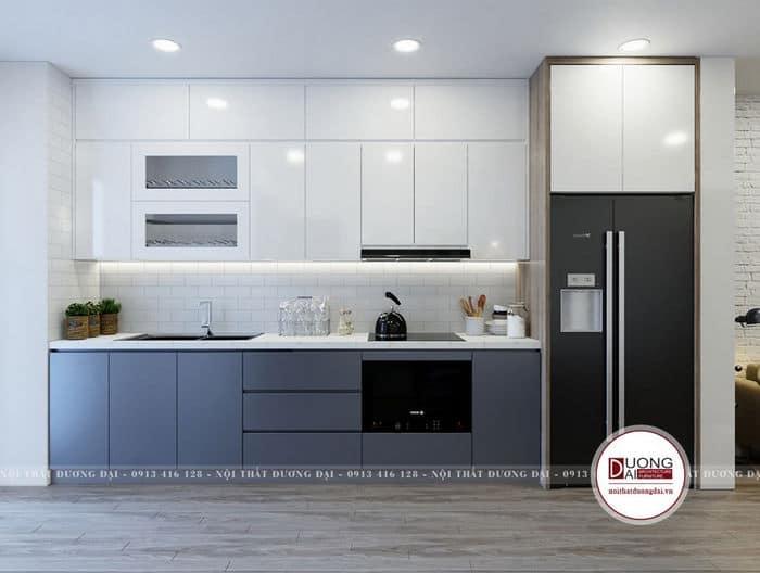 Thiết kế bếp đơn giản màu trắng và xanh dương cho chung cư nhỏ