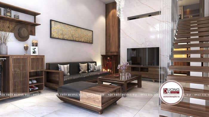Mẫu phòng khách đơn giản nhưng rất tiện nghi với nội thất nhỏ gọn