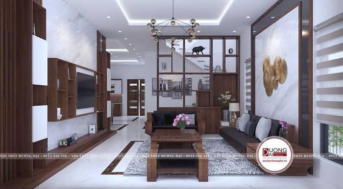 Thiết kế phòng khách liên thông phòng bếp đẹp chuẩn phong thủy