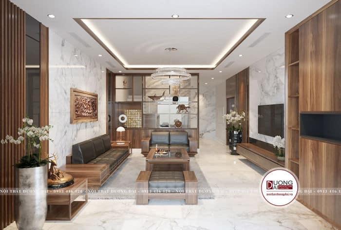 Mẫu thiết kế phòng khách nhà phố với nội thất gỗ cao cấp.