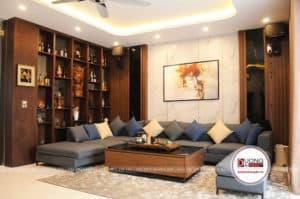 Phòng khách sang trọng và đẳng cấp với bộ sofa chữ U