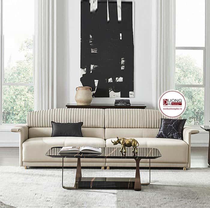 Mẫu sofa da màu trắng hiện đại và cá tính