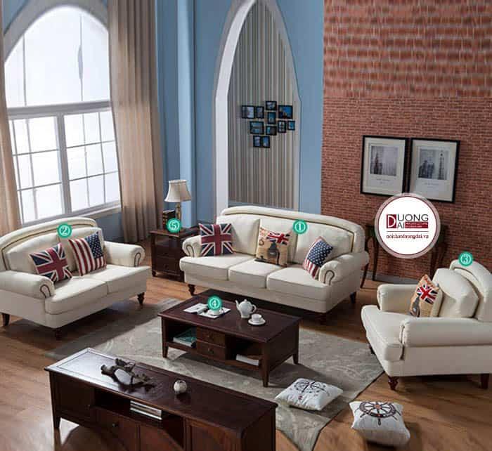 Sofa Nỉ Phòng Khách Màu Kem Trắng Phong Cách Tân Cổ Điển
