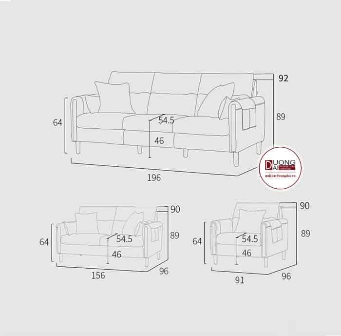 Sofa Văng Nhỏ Gọn Chất Liệu Nỉ Cho Phòng Khách Chung Cư