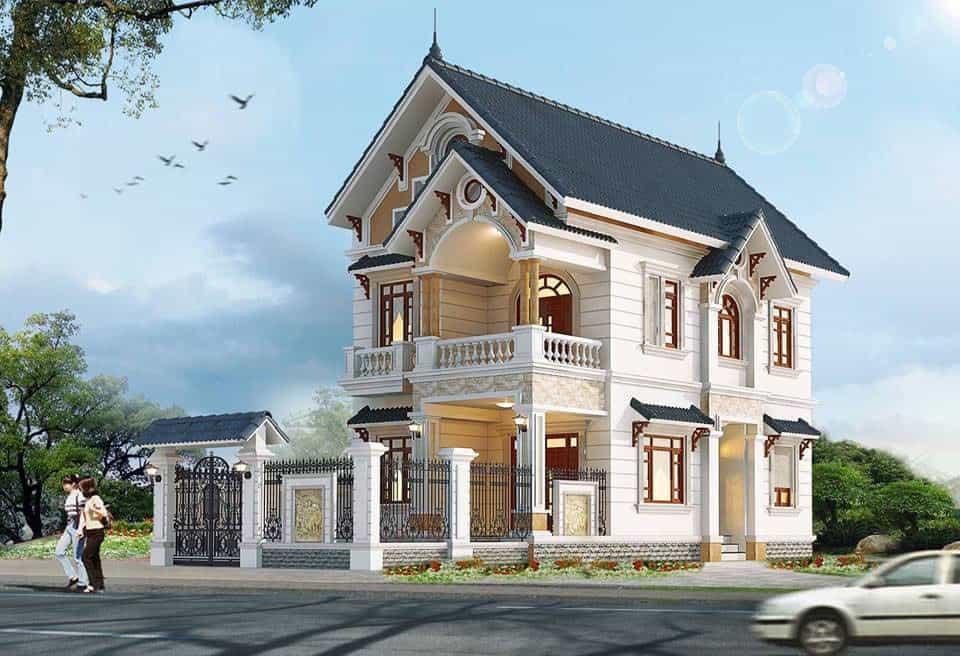 Mẫu biệt thự đẹp 2 tầng 2 mặt tiền uy nghi đẳng cấp nhất