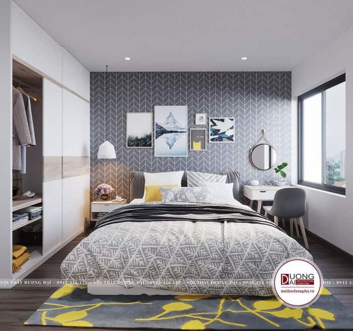 Phòng ngủ của vợ chồng chị Uyên có diện tích nhỏ xinh