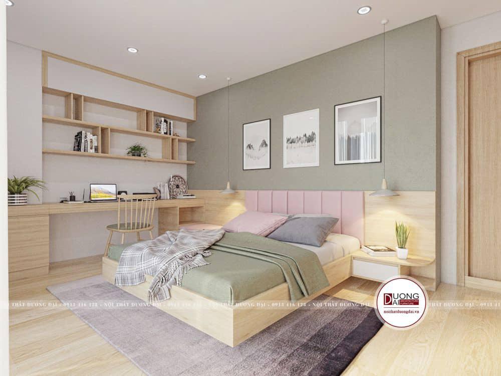 Phòng ngủ mang nét nữ tính và rất hiện đại