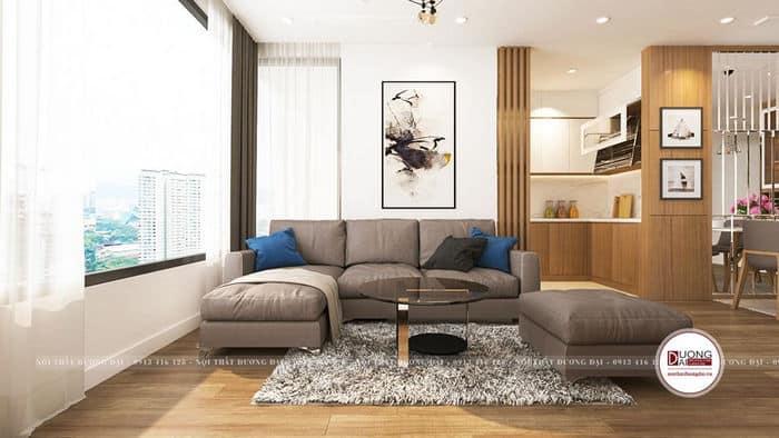 Phòng khách nhỏ với cách phối màu hài hòa, sáng sủa