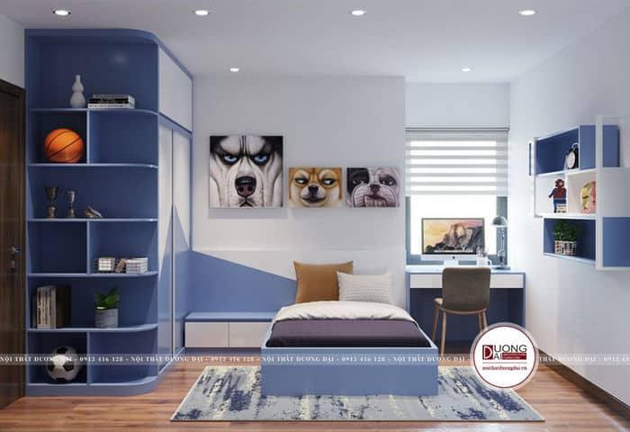 Phòng ngủ của con trai với tông màu xanh đẹp mắt với diện tích 10m2