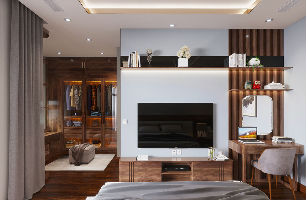 Phòng ngủ gỗ óc chó với tủ thay đồ gỗ thượng lưu, đẳng cấp