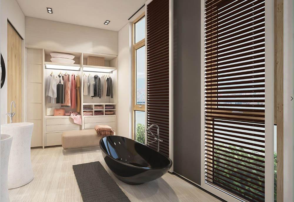 Tủ quần áo đặt trong phòng tắm nhỏ tăng sự tiện lợi cho gia chủ