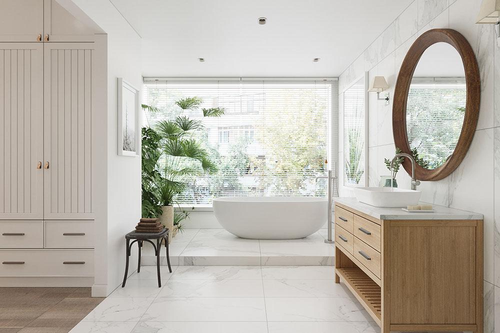 Phòng tắm kết hợp phòng thay đồ thanh lịch và sang trọng