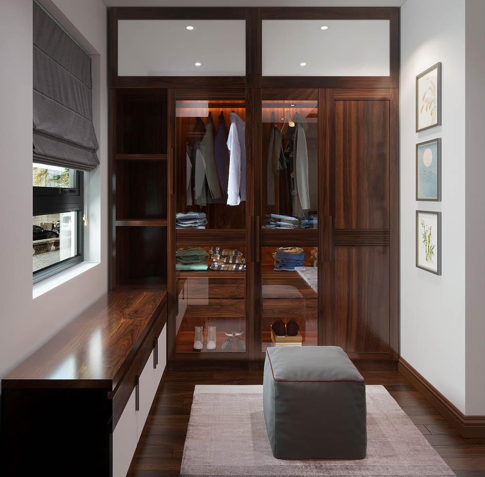 Màu nâu trầm cùng đường vân tạo nên nét đẹp riêng cho tủ đồ