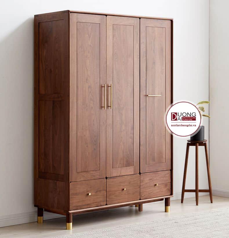 Mẫu tủ quần áo 3 cánh sang trọng với những đường vân gỗ tinh tế