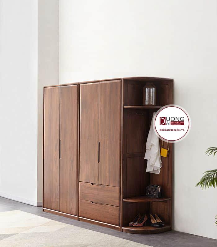 Thiết kế tủ gỗ đa năng kết hợp với kệ trang trí