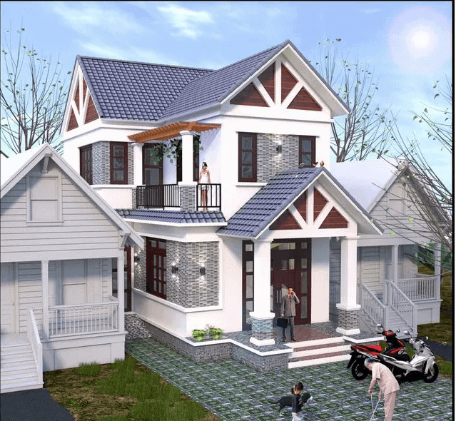 thiết kế nhà 2 tầng 8x14m