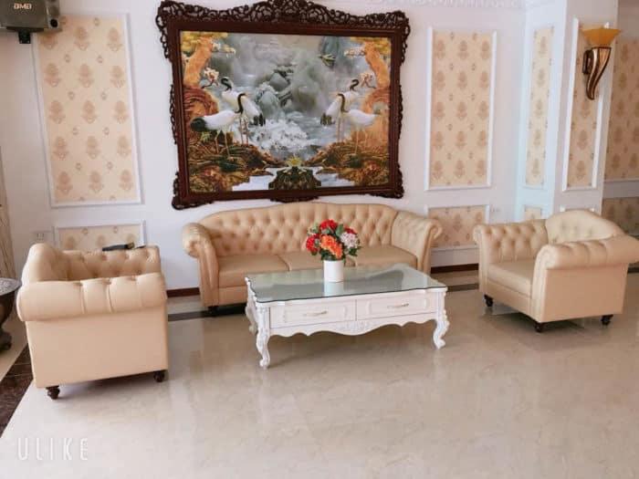 Bộ Sofa Da Tân Cổ Điển | Bàn Giao Cho Chị Nhung Ở Hải Dương