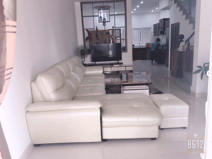 Ghế Sofa Da Màu Trắng   Bàn Giao Cho Cô Thu Ở Hưng Yên
