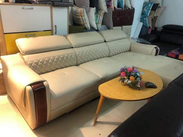 Sofa Da Màu Kem Hiện Đại | Bàn Giao Cho Cô Lan Ở Bắc Giang