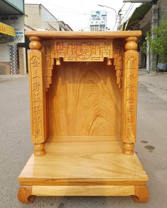 Thiết bàn thờ Thần Tài - Ông Địa bằng gỗ Hổ bì