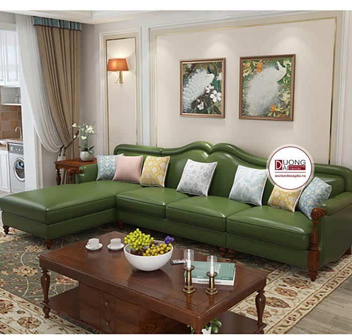 Sofa da chữ L ấn tượng với màu xanh tân cổ điển