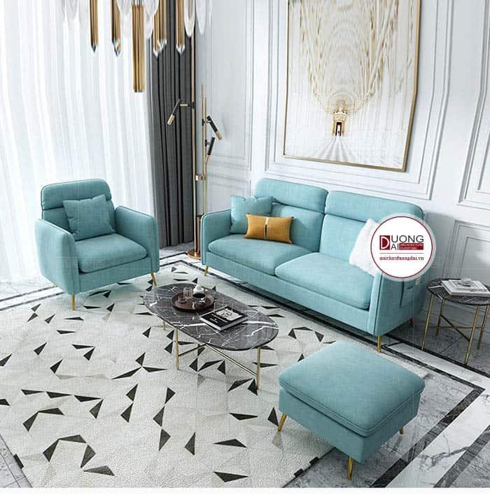 Mẫu sofa màu xanh ngọc trang nhã và sang trọng