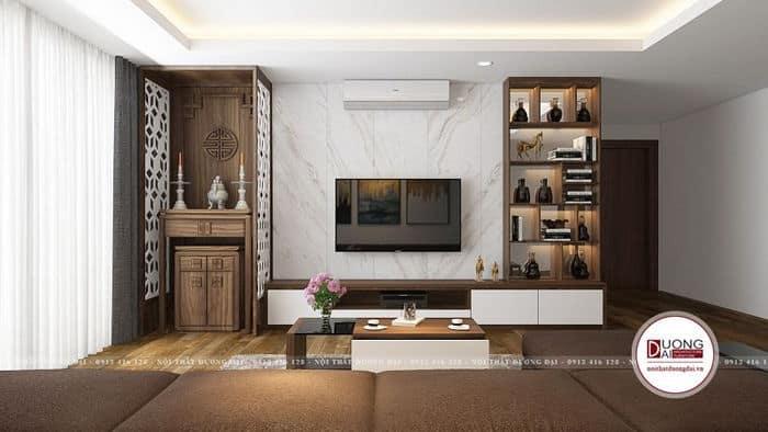 Kệ tivi treo tường kết hợp tủ rượu và bàn thờ tiết kiệm diện tích