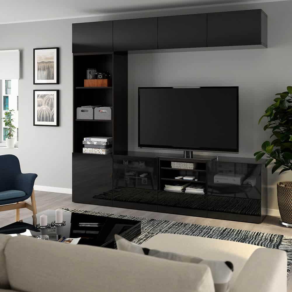 Thiết kế kệ tivi màu đen quyến rũ và đẳng cấp