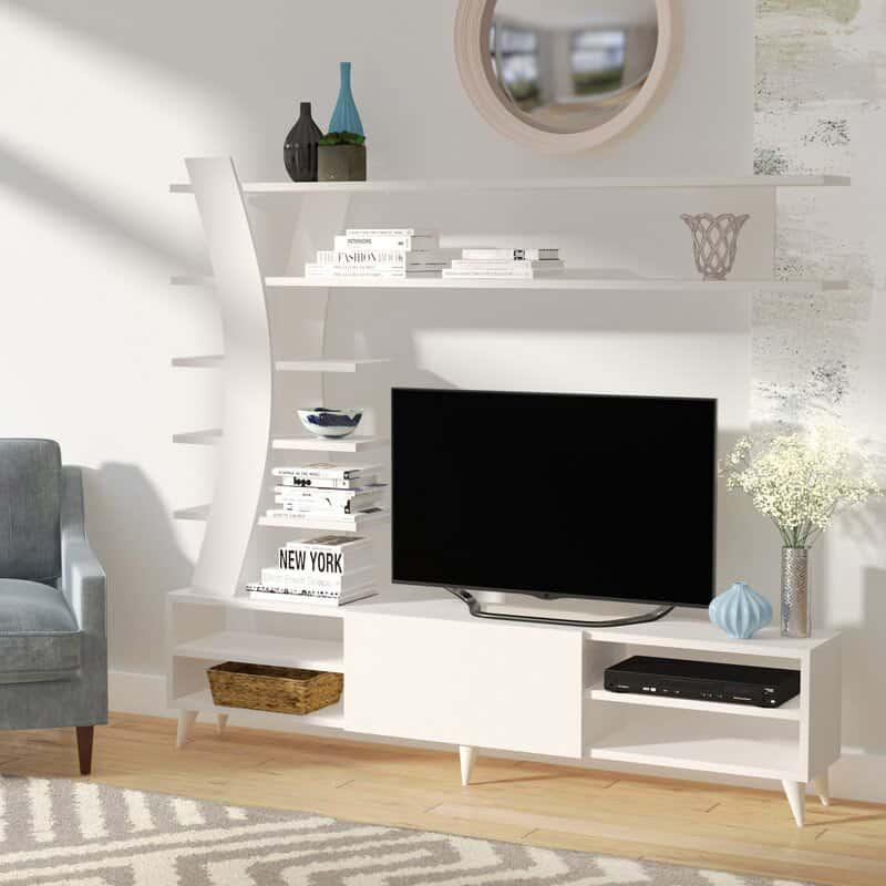 Mẫu kệ tivi và giá sách mở màu trắng