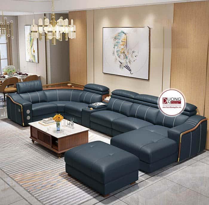 Mẫu sofa da ấn tượng màu xanh ghi cho phòng khách