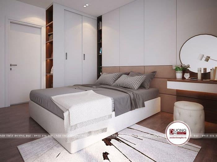 Mẫu thiết kế giường ngủ trang nhã với tông màu trắng- xám.