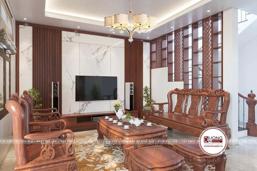 Mẫu thiết kế phòng khách có cầu thang với chất liệu gỗ sồi đẹp ấn tượng