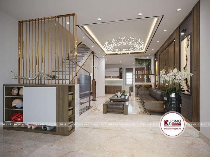 Mẫu nhà ống sử dụng thiết kế phòng khách có cầu thang