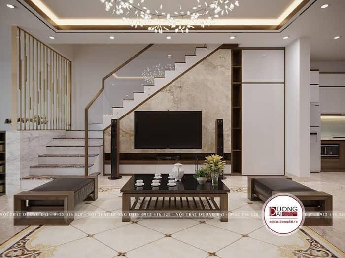 Phòng khách sử dụng gầm cầu thang làm kệ tivi gỗ công nghiệp