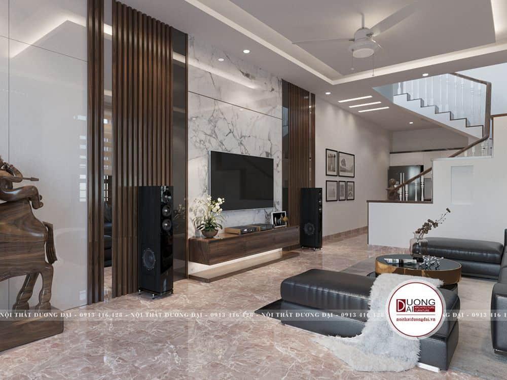 Vẻ đẹp của nội thất hiện đại rất phù hợp với không gian phòng khách có cầu thang
