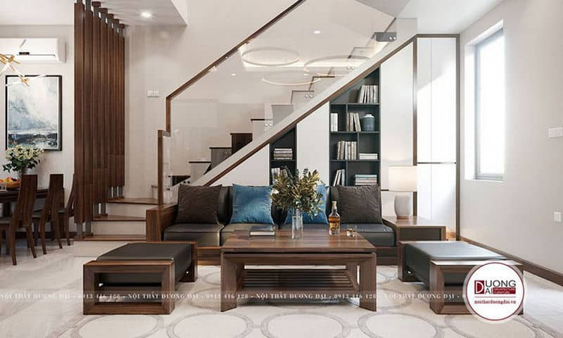 Thiết kế tủ sách lớn dưới gầm cầu thang trang trí phòng khách