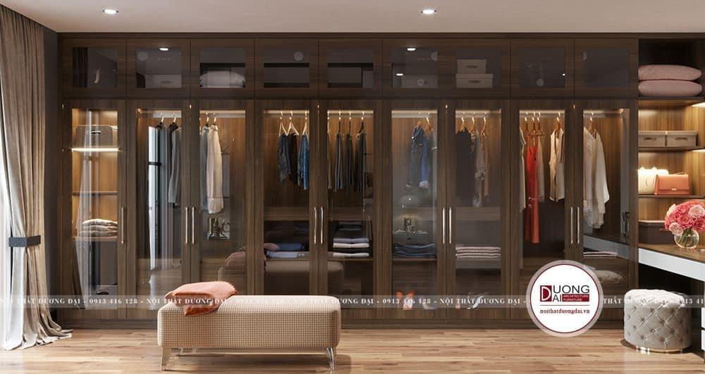 Thiết kế tủ kính đựng quần áo siêu đẳng cấp và xa hoa
