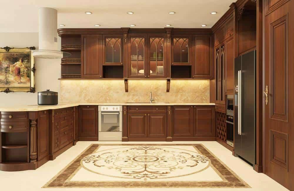 Mẫu tủ bếp gõ đỏ đẳng cấp với thiết kế thông minh