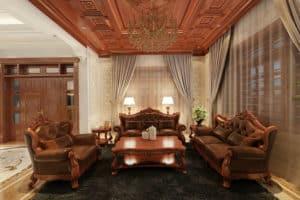 Nội thất phòng khách đẳng cấp và xa hoa với màu gỗ đỏ đậm