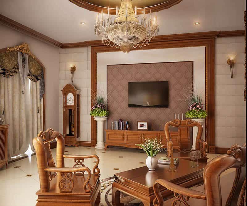 Thiết kế phòng khách với nội thất gỗ hương siêu đẳng cấp