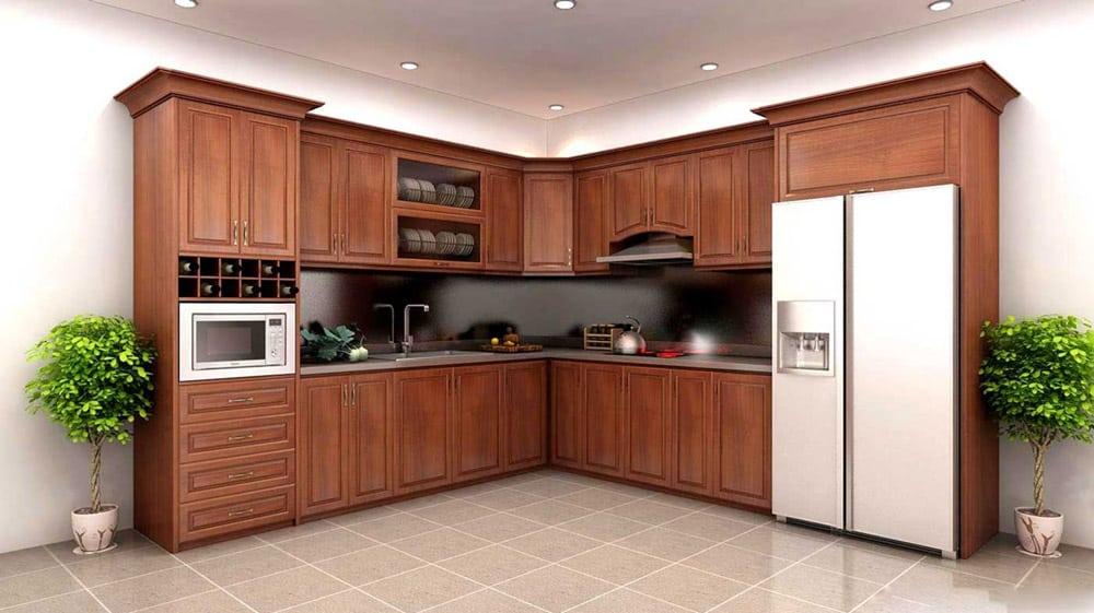 Thiết kế nội thất phòng bếp sẽ rất bền khi sử dụng gỗ tự nhiên