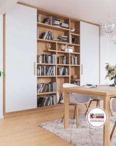 Thiết kế kệ tủ lớn bằng khung gỗ sồi cao cấp
