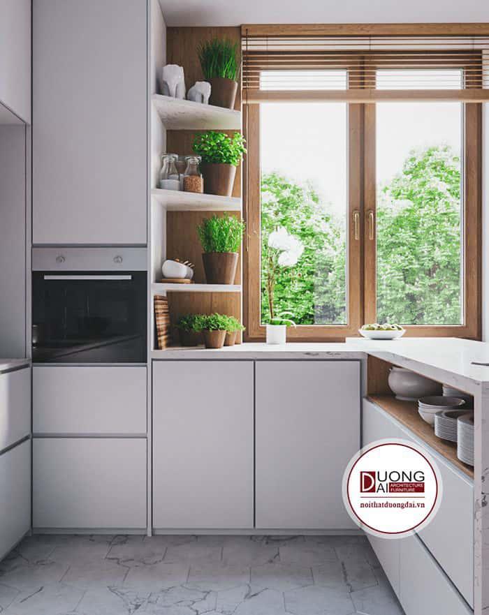 Tủ bếp khung gỗ phủ Laminate siêu đẹp và hiện đại
