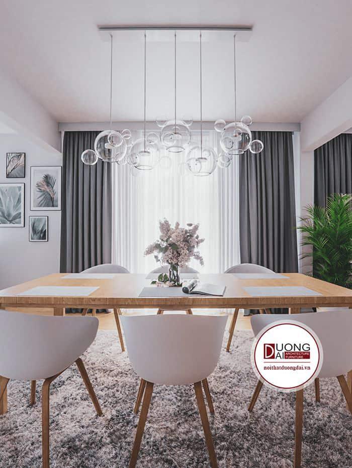 Bàn ghế ăn khung gỗ thanh mảnh và hiện đại cho phòng ăn