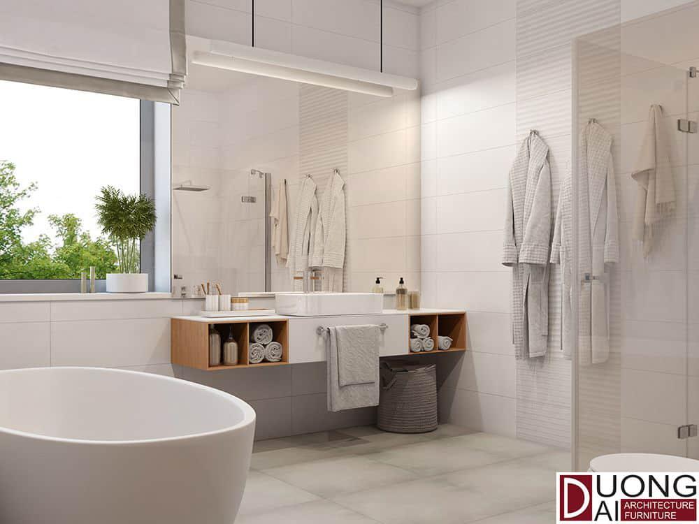Kệ tủ bằng gỗ treo tường ấn tượng cho phòng tắm